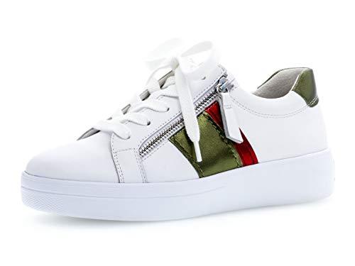 Gabor Damen Skater Sneaker 26.426.52, Frauen Sportschuh,Low-Top,Schnürer,Halbschuh,Plateau-Sohle,Weiss/Bosco/Rosso,39 EU / 6 UK