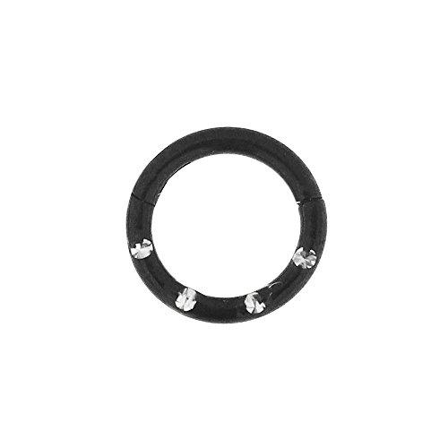 16 Lehre - 6 MM Durchmesser schwarz eloxiert Chirurgenstahl 4 Kristallsteinen gepflastert klappbar Segment Nase Ring Septum Piercing