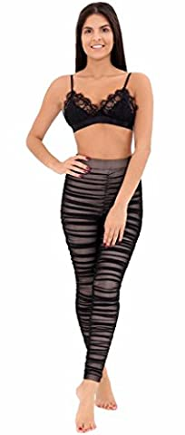 FK Styles Womens Ruched Gathered Mesh Sheer Skin Fitted Leggings