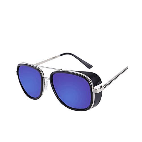 FGRYGF-eyewear Sport-Sonnenbrillen, Vintage Sonnenbrillen, Oculos Masculino Gafas De Iron Man Windproof Sunglasses Zonnebril Mannen Tony Stark Cosplay Sun Glasses Robert Downey JR Goggles Black-Blue
