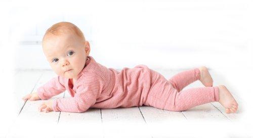 Merino Kids Langarm Pyjama-Set für Kinder 4-5 Jahre, Himbeere