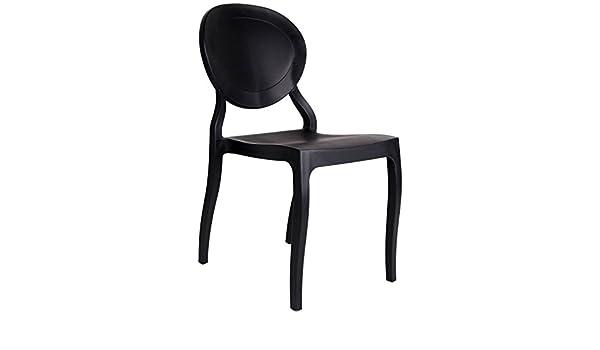 Lo demoda roco set di 2 sedie polipropilene nero 101x43x5.33 cm