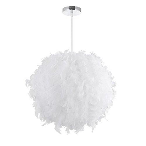 LEDMOMO Weiße Feder Pendelleuchte Einfache Luxus E27 Feder Hängeleuchte Lampenschirm für Wohnzimmer Schlafzimmer Dekor (Deckenfluter Ist Anhänger)