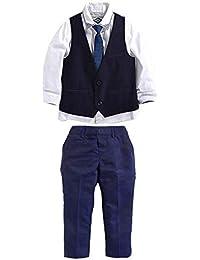 Carolilly Conjunto Traje para Bebé Suit de 4 Piezas para Niños Camisa de Manga Larga Pantalones Chaleco Corbata