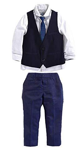 Carolilly Jungen Anzug mit Weste Hemd Gentleman Kinderanzug Hochzeit Taufe Festlich Outfit(1-7Y (2-3 Jahre, Blau)