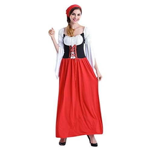 Cwemimifa Midi Dirndl Blumen Exclusive inkl. Spitzen Schürze, Frauen Bier Festival Karneval bayerischen Oktoberfest Kellnerin Cosplay Kostüm Kleid, Rot, XL