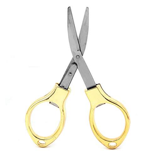 Lergo Mini Faltschere mit Schlüsselanhänger, Edelstahl, für Angelschere, Camping, Gold - Nach Unten Biegen Sie Edelstahl