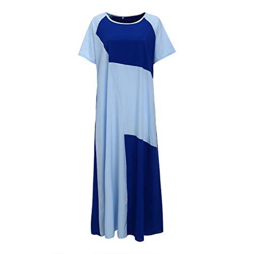 leid Oansatz Kurzarm Farbblock Zwei Taschen Muslim Langes Kleid(L3.Blau) ()