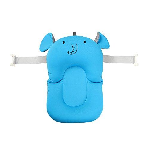 belupai Alfombrilla de baño para bebé recién nacido, plegable, para bañera, asiento de bañera y asiento de bebé(Elefante con 2 cinturones fijos)