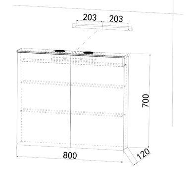 Alu Badezimmer spiegelschrank LED und Bluetooth Lautsprecher (82x70) -