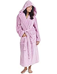 15309ddd7106 CityComfort Ladies Dressing Gown Fluffy Super Soft Hooded Bathrobe for  Women Plush Fleece Perfect Loungewear Long