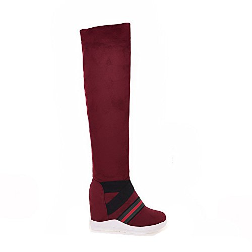 VogueZone009 Donna Colore Assortito Plastica Tacco Alto Tirare Punta Tonda Stivali Rosso