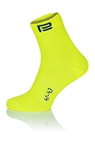 Prosske LS-2 Sportsocken Laufsocken Radsocken Atmungsaktiv Damen Herren Kinder Viele Farben - Neongelb, 41-43