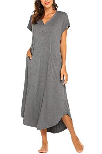 Geburtskleid Damen Nachthemd Bodenlang Kurzarm Umstandskleid Knielang Nachtwäsche Nachtkleid Geburtshemd mit V-Ausschnitt Knopfleiste, 2 Taschen aus Baumwolle für Sommer Herbst Geburt Krankenhaus