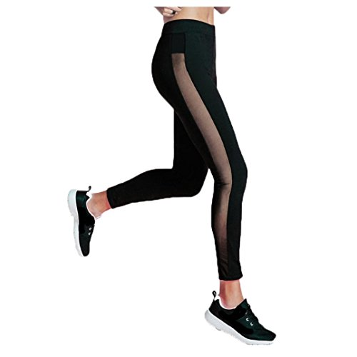 Damen Sporthose ,Sonnena Frauen Sport Yoga Workout Gym Fitness Leggings Hosen Athletic clothes Stretch zugeschnitten Leggings Schnell Trocknend Mesh Yogahosen Fitness Strecth Hose Stretch Workout Hose Casual Hohe Taille Leggings (S, Schwarz) (Weiche Womens Shorts)