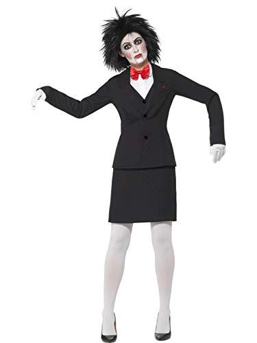 Damen Kostüm Jigsaw - Halloweenia - Damen Frauen Kostüm Horror Saw Jigsaw Jacke Rock Oberteil Fliege Handschuhe und Schminke, perfekt für Halloween Karneval und Fasching, S, Schwarz