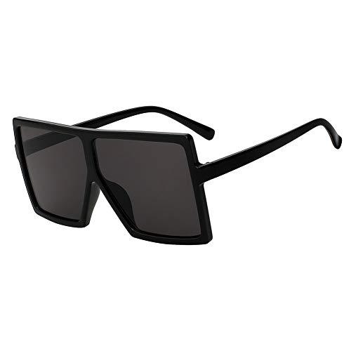 Shihuam Übergroße quadratische Frauen-Sonnenbrille Er Fashion Glasses für weibliche Retro- Weinlese-Sonnenbrille Big Oculos,Schwarz w schwarz