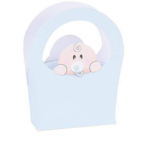 Spacco stock 20 pezzi bomboniere   nascita o battesimo bimbo   scatolina borsa celeste baby birba