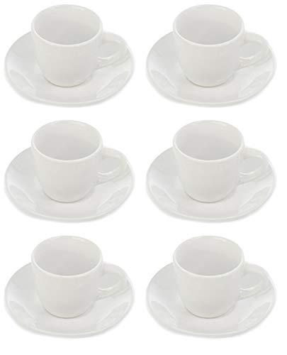 Set Di Servizio Da Caffè In Ceramica, Tazzina con manica, 6 Pezzi Piattini e Tazza, Set Servizio Da Tavola, Ideale Per Espresso Tè Latte, varie colore, Capacità 88 ml bianco 88 ml