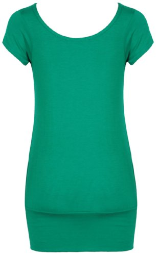 Damen Kurze Flügelärmel Damen Stretch Rund U-ausschnitt Geraffte Rüschen Schlicht U T-Shirt Top Übergröße Jadegrün