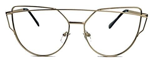 Blogger Sonnenbrille Retro Cat Eye Designer Stil Metallrahmen DGM (Klarglas / clear lens)