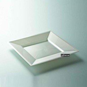 12 assiettes mariage jetables carrées plastique blanc nacré 18 cm - Adiserve -