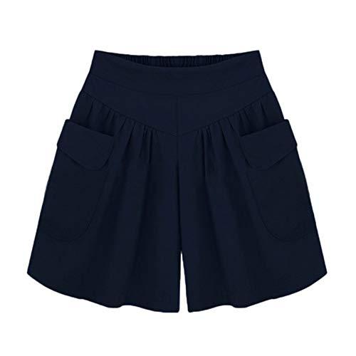 Yvelands Damen Shorts Plus Size Solide Lose Hot Pants Taschen Lady Summer Casual Shorts(Marine,XL) 2t 4t Bottoms Jeans