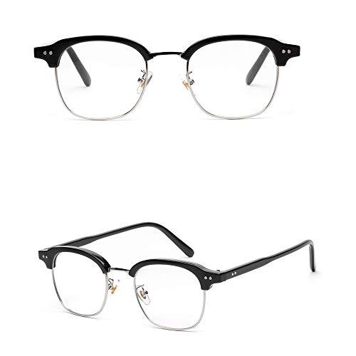 WULE-RYP Polarisierte Sonnenbrille mit UV-Schutz Mens dekorative Brillengestell Optiacl Gläser, klare Linse, Nerd Brille. Superleichtes Rahmen-Fischen, das Golf fährt (Farbe : Silver/Light Black)