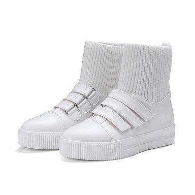 Rtry Chaussures Femme Pu Automne Hiver Confort Nouveauté Mode Bottes Talon Plat Bottes Bout Rond Bottes Magique Magique Tape Pour Extérieur Casual Noir Us9.5-10 / Eu41 / Uk7.5-8 / Cn42