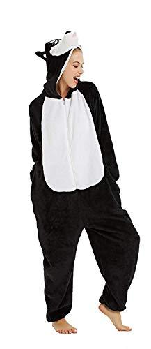 Kostüm Husky - Erwachsene Unisex Einhorn Tiger Lion Fox Onesie Tier Schlafanzug Cosplay Pyjamas Halloween Karneval Kostüm Loungewear (Husky Schwarz, XL passt Höhe 174-183cm)