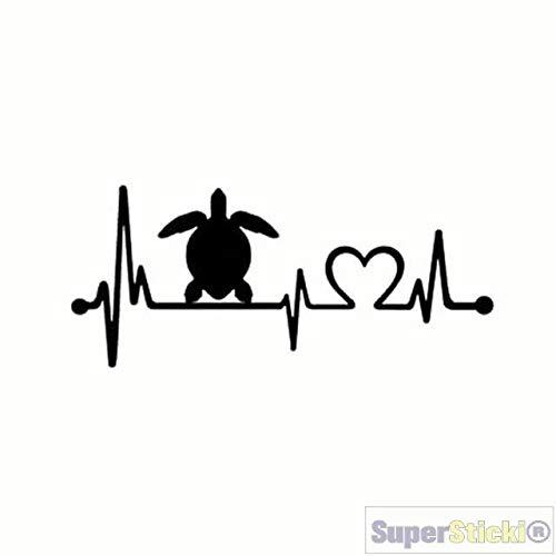 (SUPERSTICKI Herzschlag Schildkröte ca 20cm Auto Aufkleber Bike Motorrad Fun Tuning Decal aus Hochleistungsfolie Aufkleber Autoaufkleber Tuningaufkleber Hochleistungsfolie für alle glatten FL)