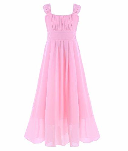 Tiaobug Mädchen Kinder Festliches Kleid Brautjungfer Prinzessin Lange Kleider Hochzeit Festkleid Abendkleid Gr. 104-164 Rosa 128