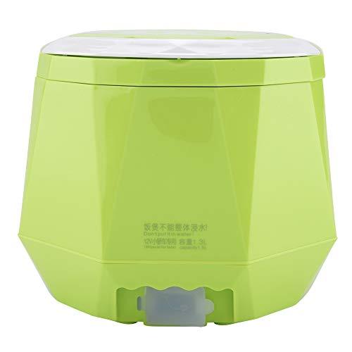 Tragbarer Reiskocher, 12V 100W 1,3 L Elektrischer Multifunktions Dampfgarer für Autos und Privathaushalte(Grün)