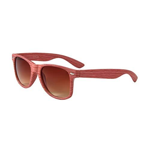 Sonnenbrille Holz Holzoptik mit Brillen Etui - UV400 - verschiede Farben und Muster für Damen und Herren verspiegelt sunglass UV-Schutz Holz Optik rot