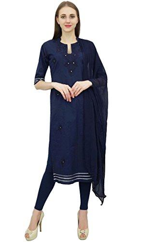 Atasi Readymade Navy Blau Salwar Hosen bestickt Baumwolle Salwar Kameez Anzug Indian Dress-52 -