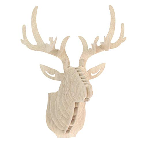 Fliyeong Premium 3D Holzpuzzle Modell Elch Hirschkopf Wand Dekor DIY Skulptur Ornament Wandkunst Dekor weiß -