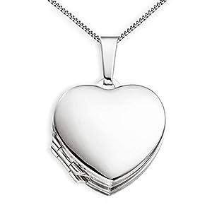 Medaillon Doppelmedaillon Hochglanz Herz 925 Sterling Silber zum öffnen für Bildereinlage 4 Fotos Amulett von Haus der Herzen® mit Schmuck-Etui