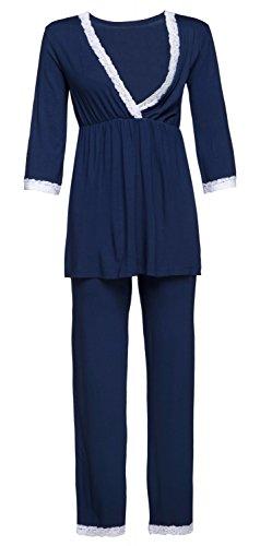 HAPPY MAMA Damen Umstands Nachthemd/Pyjama/Morgenmantel SEPARAT ERHÄLTLICH. 591p (Marine, EU 40, L)