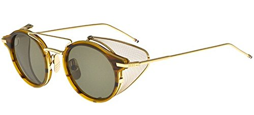 thom-browne-tb-804-walnut-gold-rondes-metal-unisexe