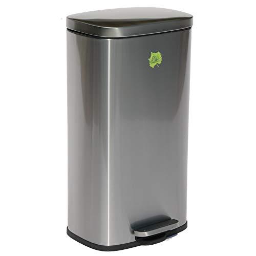 Made for us 30 Liter Edelstahl Mülleimer Tret-Abfalleimer Küchen-Mülleimer 30 L Abfall-Eimer Pedal-Treteimer (Biotonne Stahl)