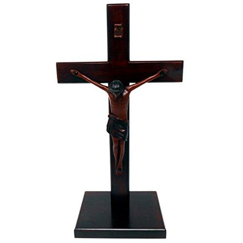 Christliche groß holz Holz Korpus stehend Kreuz 25cm quadratisch base kruzifix