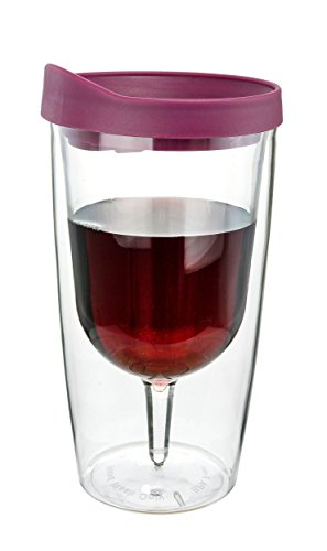 Southern Homewares 10 oz Wine 2Go! Insulated Vino Double Wall Acrylic Wine Tumbler with Drink Through Lid, Merlot Red