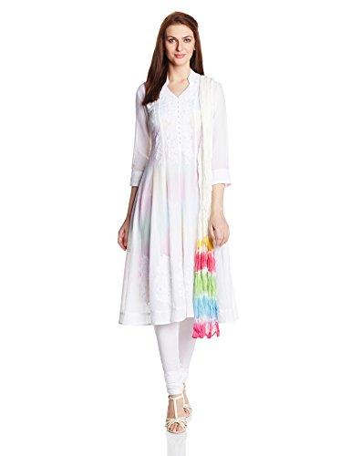 Biba Women's Anarkali Salwar Suit (Skd # 3888_White_32)
