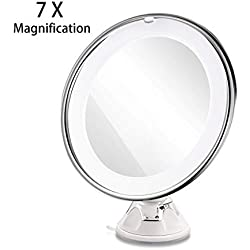 RUIMIO Makeup Mirror 7X Magnifying Lighted Makeup Mirror with Suction Base, Natural White LED, 360 Degree Swivel