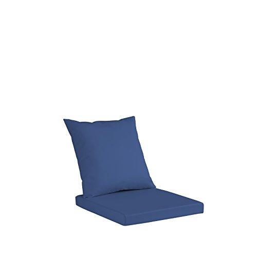 Set Merida Coussin pour banc, sofa ou chaises, en simili cuir hydrofuge, coussin d'assise en polyuréthane 8 cm de hauteur, coussin de dossier en ouate aux mêmes dimensions que le coussin d'assise 40X40 bleu