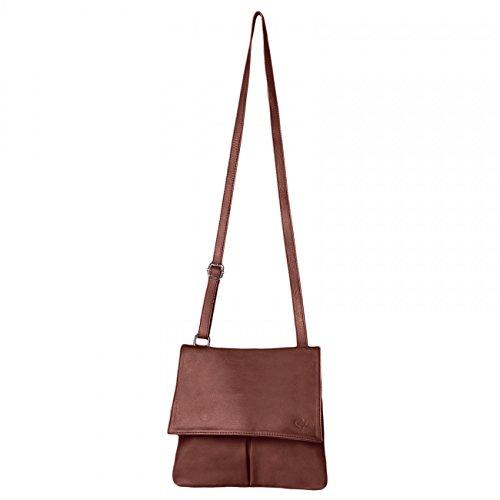 CASPAR Damen Ledertasche / Umhängetasche / Messenger Bag / Vintage - mit vielen Fächern aus weichem italienischem Nappa Leder - viele Farben - TL042 rotbraun