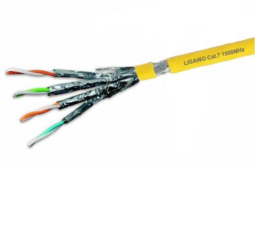 Ligawo ® cavo di installazione Cat.7 1500MHz + 100m 10 Gigabit Cat7 4x2 AWG22 alogena (80 % Di Rame Treccia)