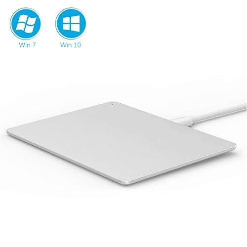 Jelly Comb USB TouchPad, Multi-Touch Maus mit Kabel für PC mit WIN7/ WIN10, Multifunktion Touchpad aus Aluminiummaterial, USB Anschluss, Größe von 13,9 x 10,3 x 0,6cm, Silber (Usb Touchpad-maus,)