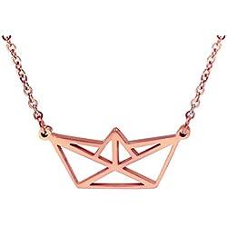 Collar Origami Geométrico Bañado en oro rosa