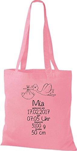 Shirtstown Stoffbeutel ein tolles Geschenk zur Geburt mit deinen persönlichen Initilien Storch Rosa